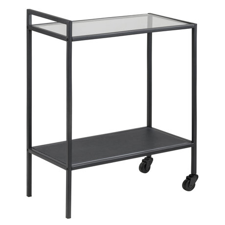 wonenmetlef Trolley Matty black glass metal 60x30x75cm
