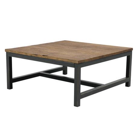 wonenmetlef Table basse Alex en bois brun antique métal 90x90x40cm
