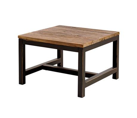 wonenmetlef Bijzettafel Alex antiek bruin hout metaal 60x60x40cm