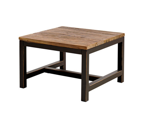 wonenmetlef Side table Alex antique brown wood metal 60x60x40cm