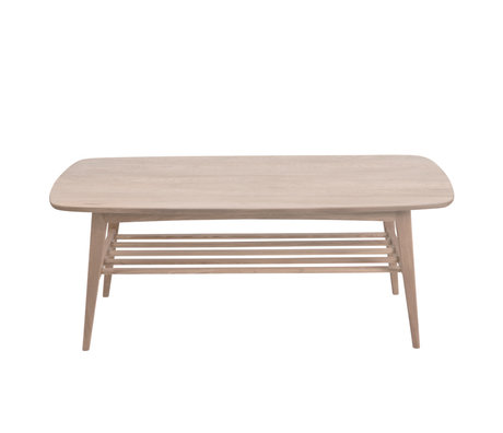 wonenmetlef Coffee table Jolie brown with white pigment wood 120x60x47cm