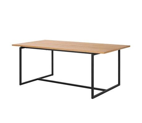 wonenmetlef Table à manger Nola naturel brun noir bois métal 160x75x75cm