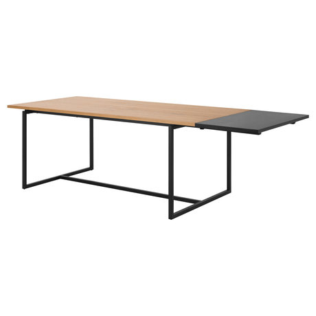 wonenmetlef Extension leaf for dining table Nola black MDF 50x100x2.5cm