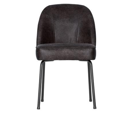 BePureHome Chaise de salle à manger Vogue en cuir noir 50x57x82.5cm