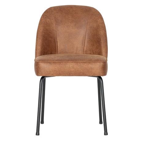 BePureHome Chaise de salle à manger Vogue cuir cognac marron 50x57x82.5cm