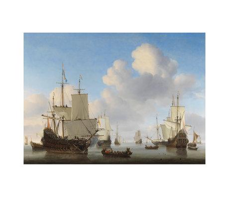 wonenmetlef Gemälde Niederländisch Schiffe mehrfarbig Plexiglas 80x120cm