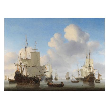 wonenmetlef Gemälde Niederländisch Schiffe mehrfarbig Plexiglas 100x150cm