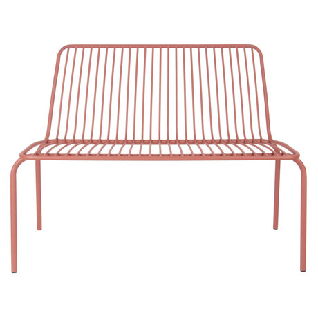 Leitmotiv Garden bench Lineate clay brown metal 100x43x84cm