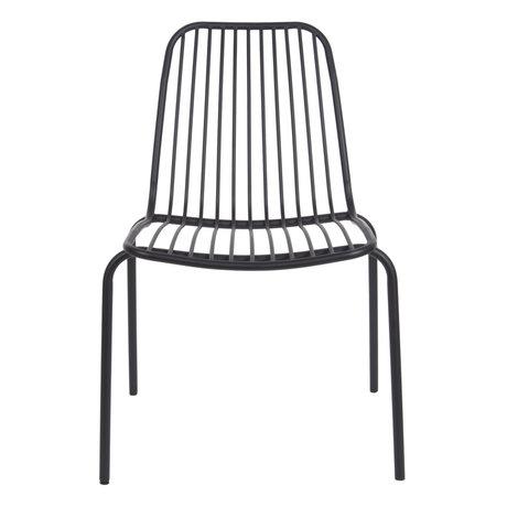 Leitmotiv Chaise de jardin Lineate en métal noir 43x43x84cm