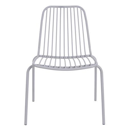 Leitmotiv Garden chair Lineate gray metal 43x43x84cm