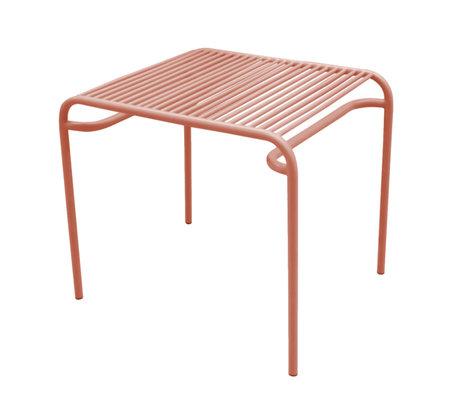 Leitmotiv Table d'appoint de jardin Lineate argile marron métal 58x48x50cm