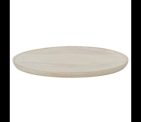 BePureHome Tablett Discus L Holz weiß getüncht 41x41x3cm