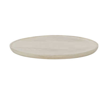 BePureHome Tray Discus L whitewashed wood 41x41x3cm