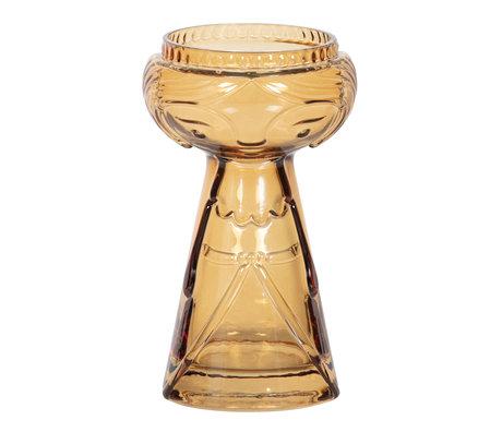 BePureHome Vase Flowerpower M gelbes Glas ø11x18cm