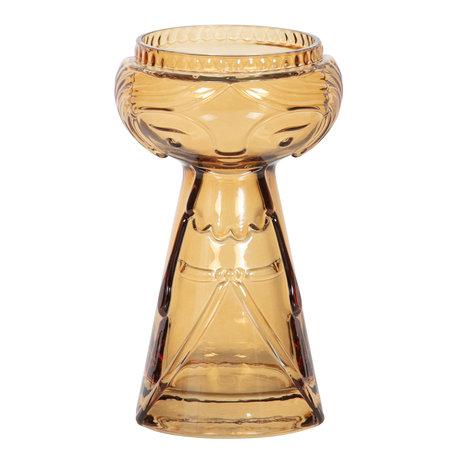 BePureHome Vase Flowerpower M verre jaune ø11x18cm