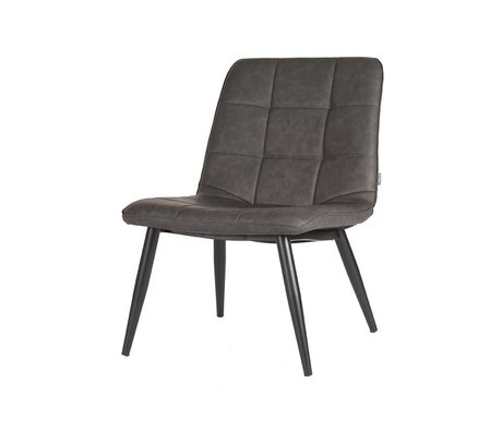 LEF collections Armchair James anthracite gray black pu leather metal 74x60x80cm