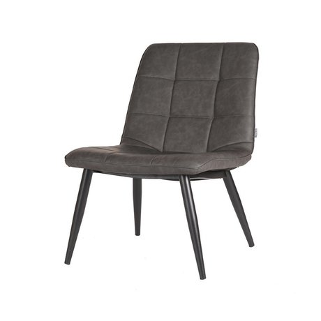 LEF collections Fauteuil James gris anthracite noir cuir noir 74x60x80cm