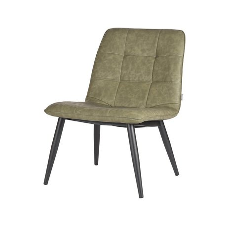 LEF collections Armchair James army green black pu leather metal 74x60x80cm