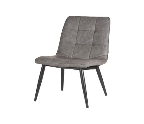 LEF collections Armchair James gray black pu leather metal 74x60x80cm
