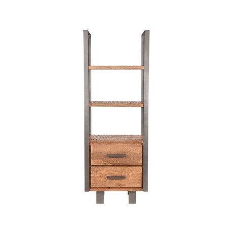 LEF collections Bookcase Factory Rough mango wood vintage metal 68x45x185cm