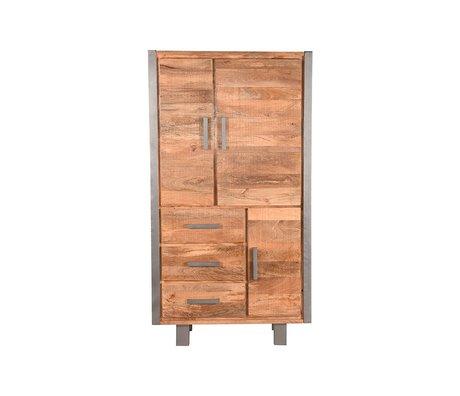 LEF collections Cabinet Factory brut bois de manguier vintage métal 100x45x185cm