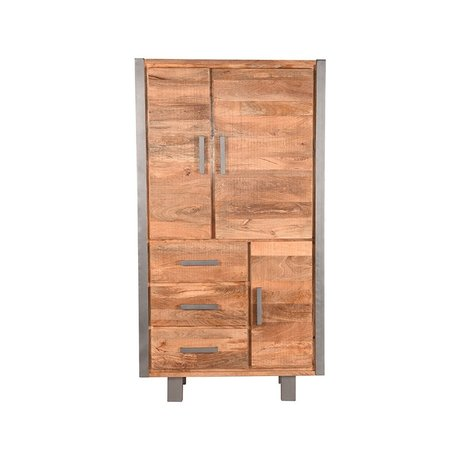 LEF collections Cabinet Factory raues Mangoholz Vintage Metall 100x45x185cm