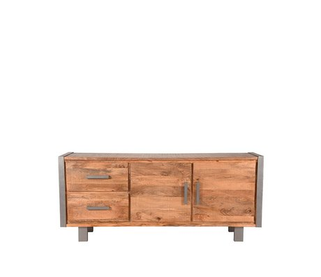 LEF collections Sideboard Factory raues Mangoholz Vintage Metall 180x45x78cm