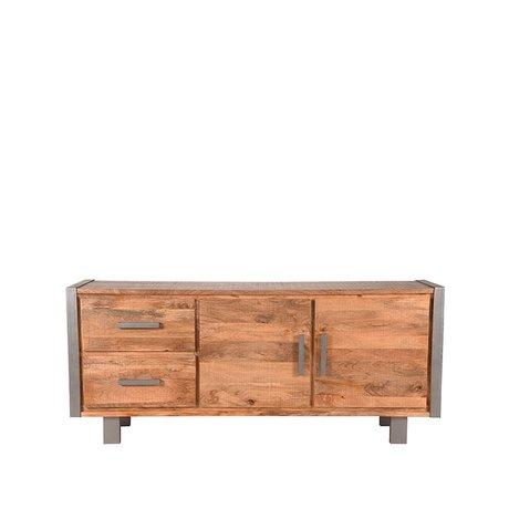 LEF collections Dressoir Factory rough mangohout vintage metaal 180x45x78cm