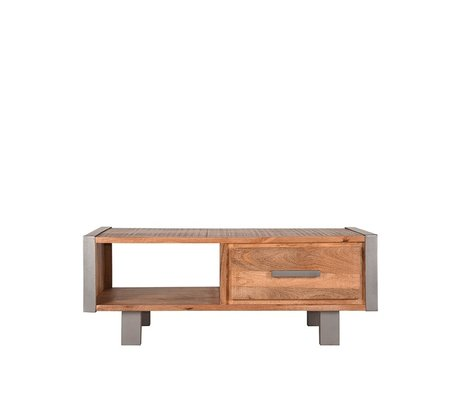 LEF collections Couchtisch Factory raues Mangoholz Vintage Metall 120x70x46cm