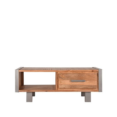 LEF collections Coffee table Factory rough mango wood vintage metal 120x70x46cm