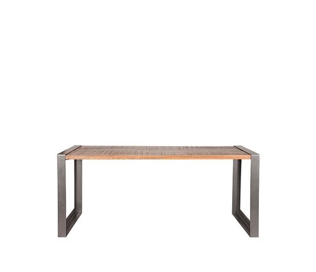 LEF collections Dining table Factory rough mango wood vintage metal 200x90x75cm