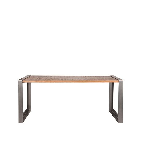 LEF collections Dining table Factory rough mango wood vintage metal 180x90x75cm