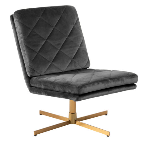 mister FRENKIE Armchair Lynn dark gray gold VIC textile metal 60x79x87cm