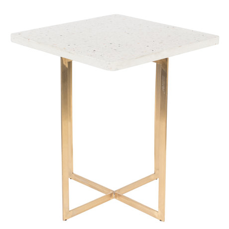 Zuiver Table d'appoint Luigi Square fer blanc terrazo 40x40x45 cm