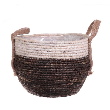 wonenmetlef Basket for plant Noor brown braided jute Ø21x18cm