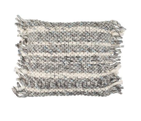 Zuiver Coussin Frills gris bleu coton 45x45cm
