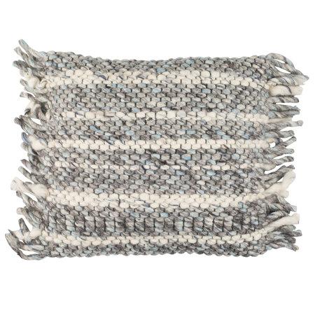 Zuiver Sierkussen Frills grijs blauw katoen 45x45cm