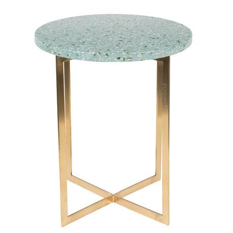 Zuiver Side table Luigi Round green terrazo iron Ø40x45cm