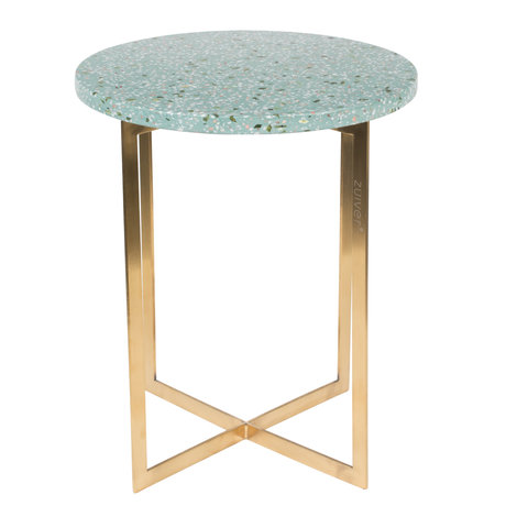 Zuiver Table d'appoint Luigi Rond Ø40x45cm en fer terrazo vert
