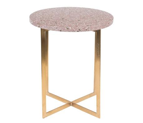 Zuiver Table d'appoint Luigi Rond Ø40x45cm en fer terrazo rouge foncé
