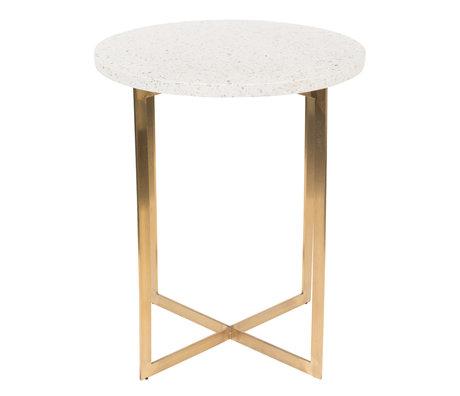Zuiver Side table Luigi Round white terrazo iron Ø40x45cm