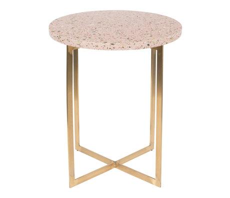 Zuiver Side table Luigi Round pink terrazo iron Ø40x45cm