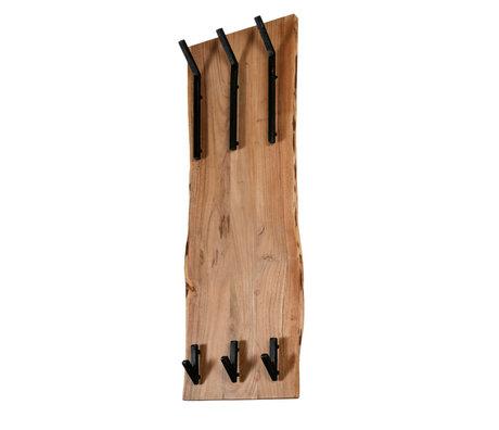 wonenmetlef Kapstok Emma naturel bruin hout metaal 2x3 haken 35x12x100cm