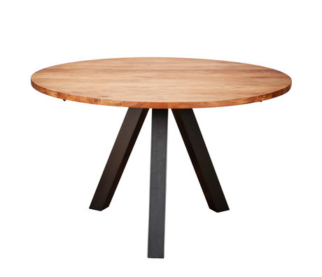 wonenmetlef Dining table Tit natural brown wood steel Ø120x76cm