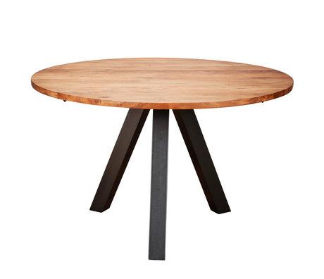 wonenmetlef Table à manger Tit en bois brun naturel acier Ø120x76cm
