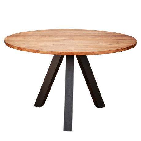 wonenmetlef Eettafel Mees naturel bruin hout staal Ø120x76cm