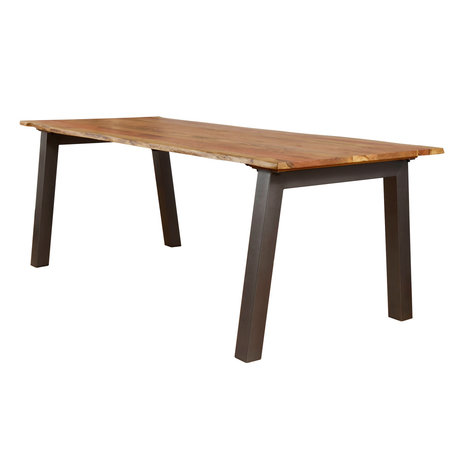 wonenmetlef Dining table Hanna natural brown wood steel 210x95x76cm