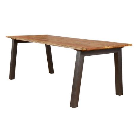 wonenmetlef Table à manger Hanna en bois brun naturel 210x95x76cm