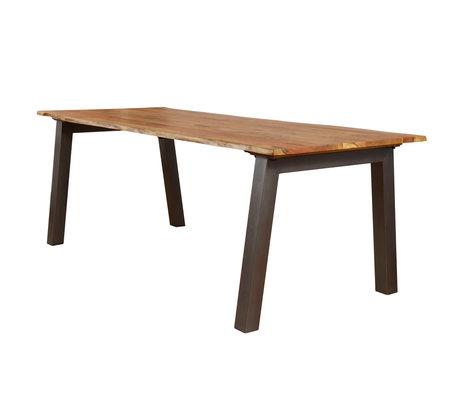 wonenmetlef Eettafel Hanna naturel bruin hout staal 240x100x76cm