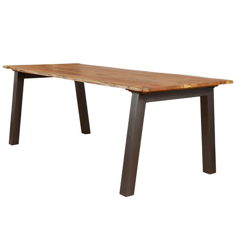 wonenmetlef Dining table Hanna natural brown wood steel 240x100x76cm